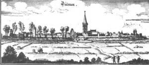"""Das mittelalterliche Stadtbild Dülmens in der Zeit um 1646 nach einem Stich aus dem Werk """"Topographica"""" des Verlegers und Künstlers Matthias Merian des Älteren."""