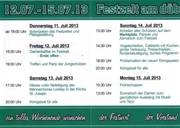 Programmablauf Schützenfest 2013